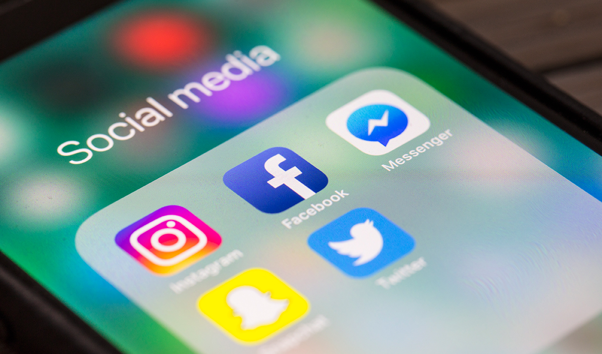 Social media app icons for Facebook, Instagram and Twitter